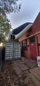72kw on shipping container for school aircon hire